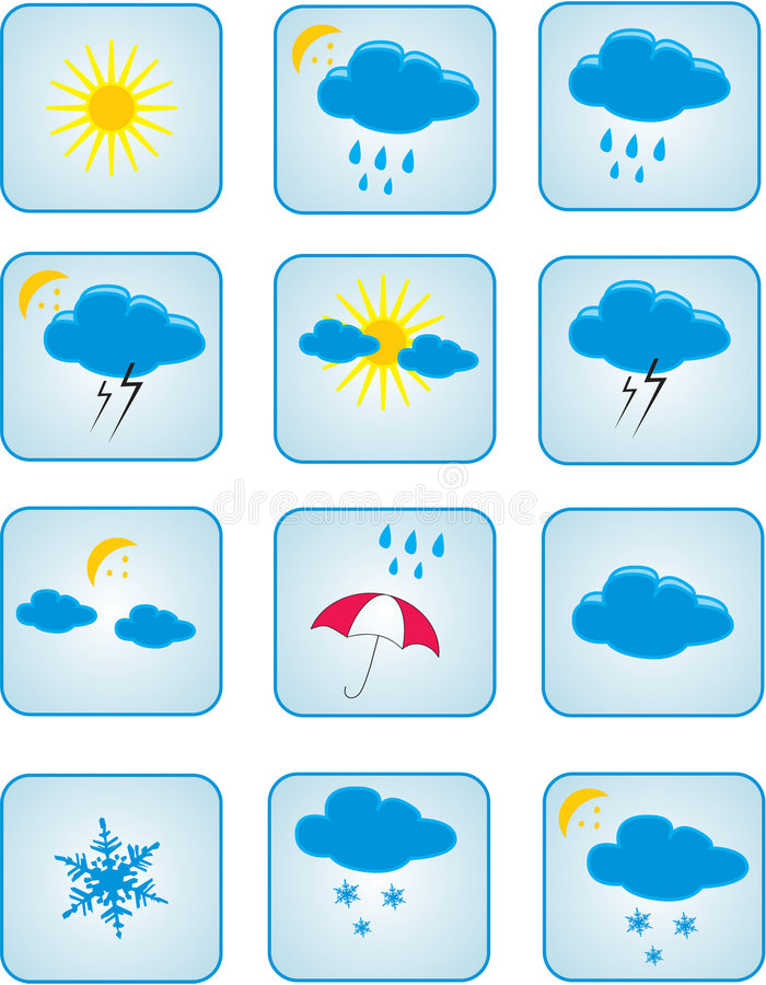 Weather Symbols Stock Vector Illustration Of Rain Buttons 4931821