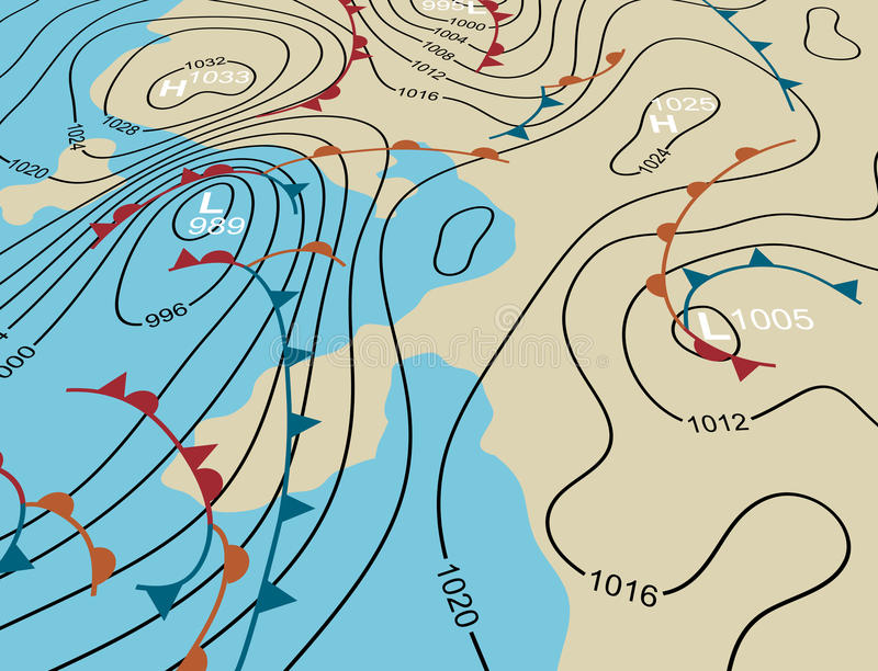 Weather system map. Editable vector illustration of an angled generic weather system map stock illustration