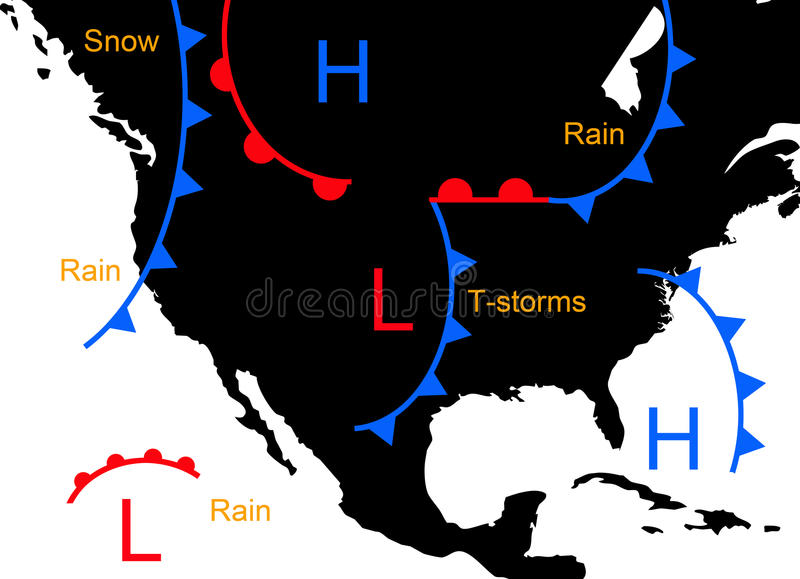 Weather systems. With low and high pressure and weather forecast royalty free illustration
