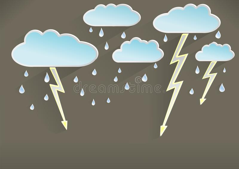 Weather template of rainy and stormy day, dark royalty free illustration