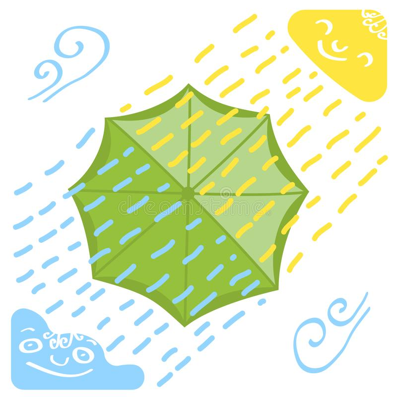 Weather with an umbrella as a symbol of protection from various weathers royalty free stock image