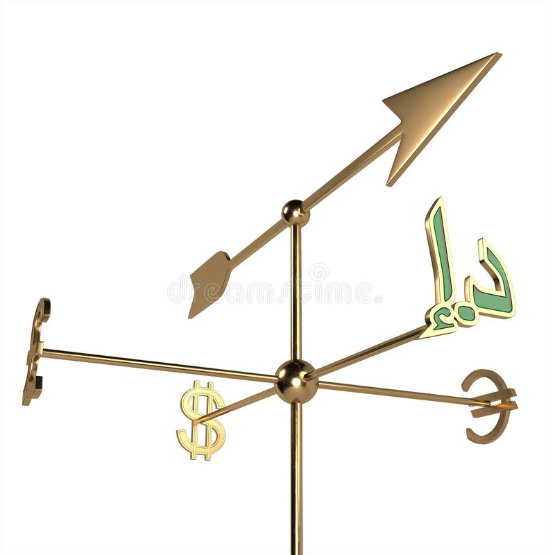 Weather vane with currency signs of different countries. The cursor points in the direction of the UAE currency symbol-dirham . 3D royalty free illustration