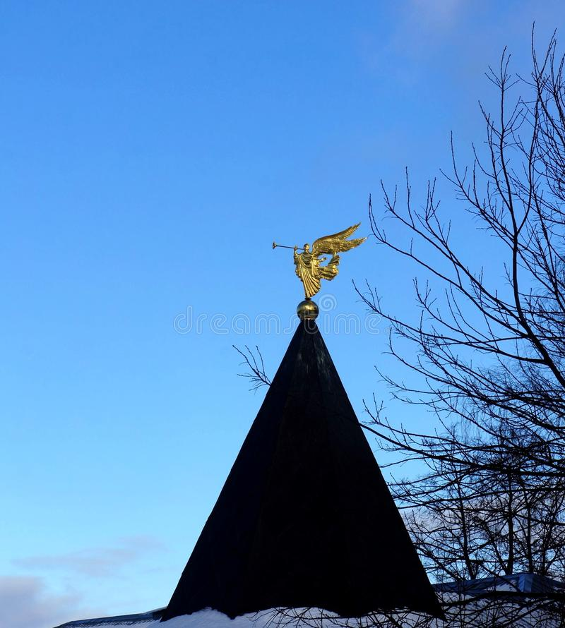 Weather vane in the form of an angel royalty free stock photos