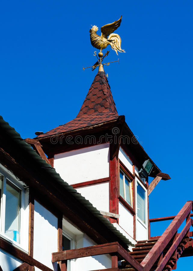 Weather vane on the roof of the tower. Russia royalty free stock image