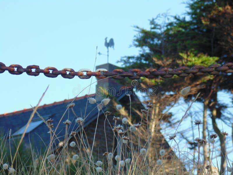 The wind vane and chain stock image