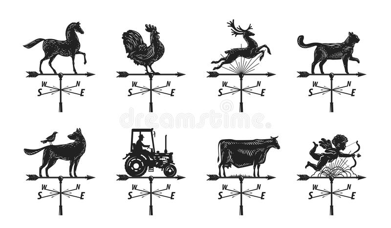 Weather vane silhouette, set icons. Windvane, weathervane symbol or logo. Vintage vector illustration stock illustration