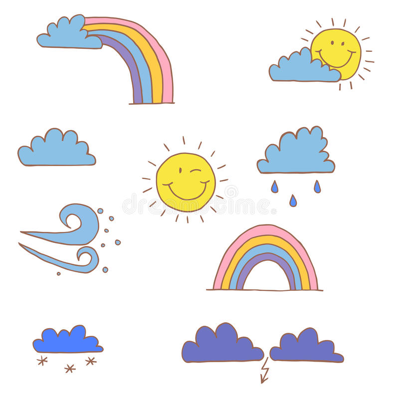 Weather vector. Cartoon nature of a child's drawing. Weather vector. Cartoon nature of a child's drawing royalty free illustration