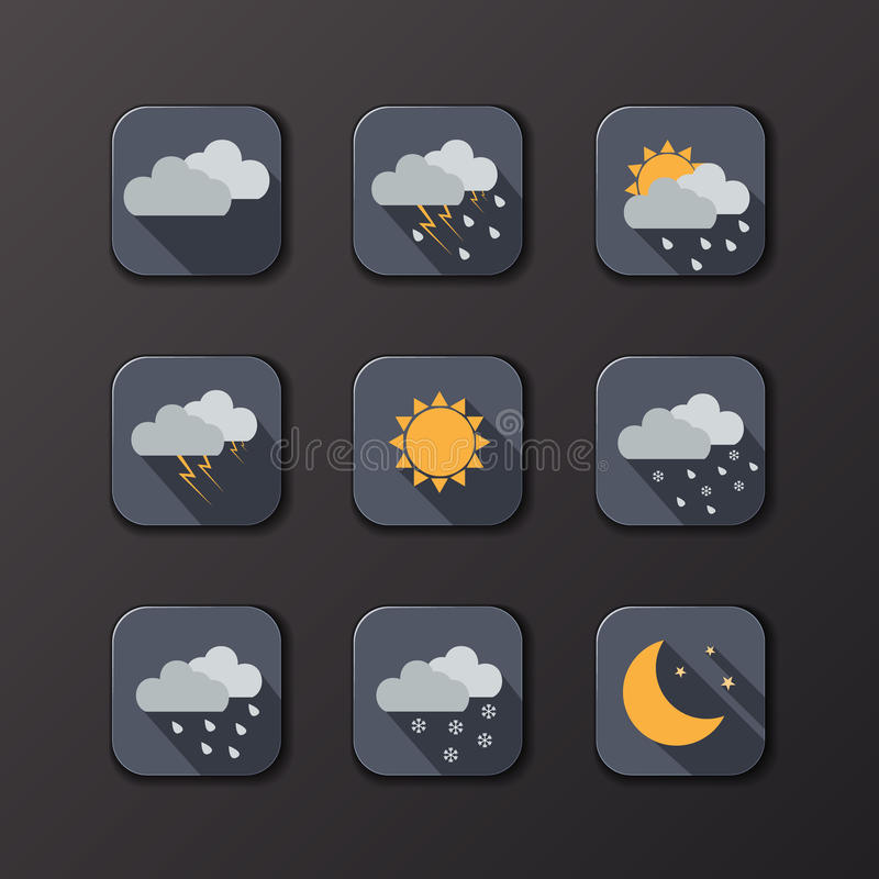 Weather vector icons. Flat design. Perfect for your application. Sun, moon, clouds, rain, snow. Day and night concept. Vector illustration stock illustration