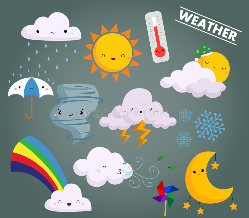 Weather vector set. A weather vector set with many cute icon stock illustration