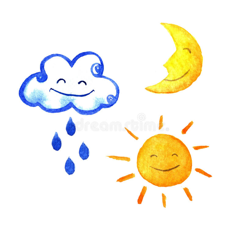 Weather watercolor set of icons. Cute smiling sun, moon, star, drops, and cloud. hand painted illustration. stock illustration