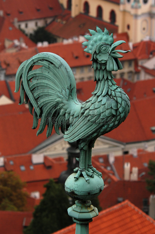 Weathercock di Praga immagine stock