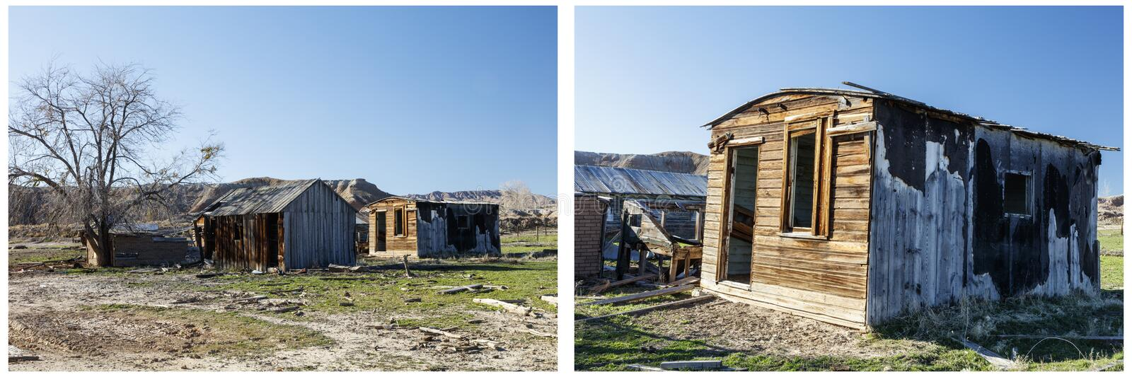 Old grungy homestead buildings collage royalty free stock images