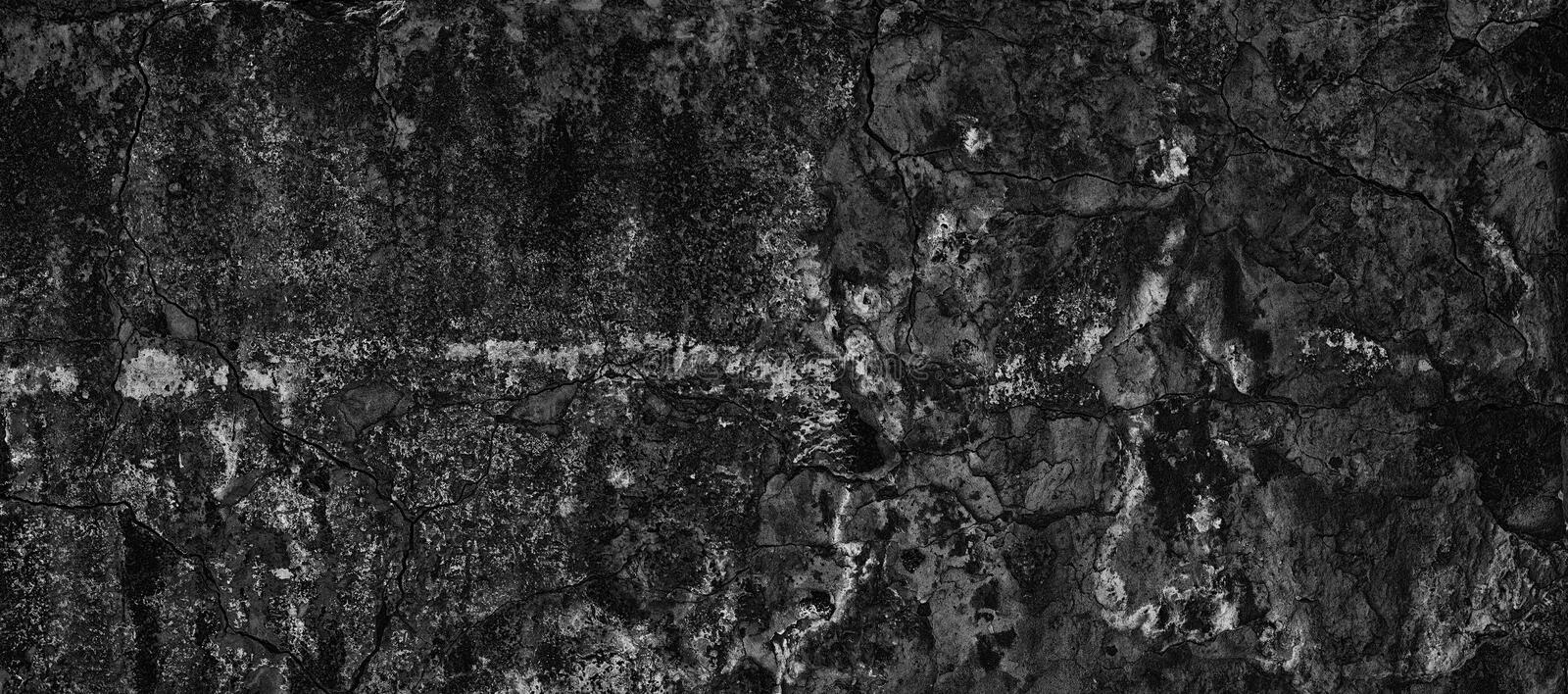 Weathered black concrete wide texture - dark panoramic background. Old cracked black concrete wall wide texture. Weathered cement surface. Dark grunge background stock photos