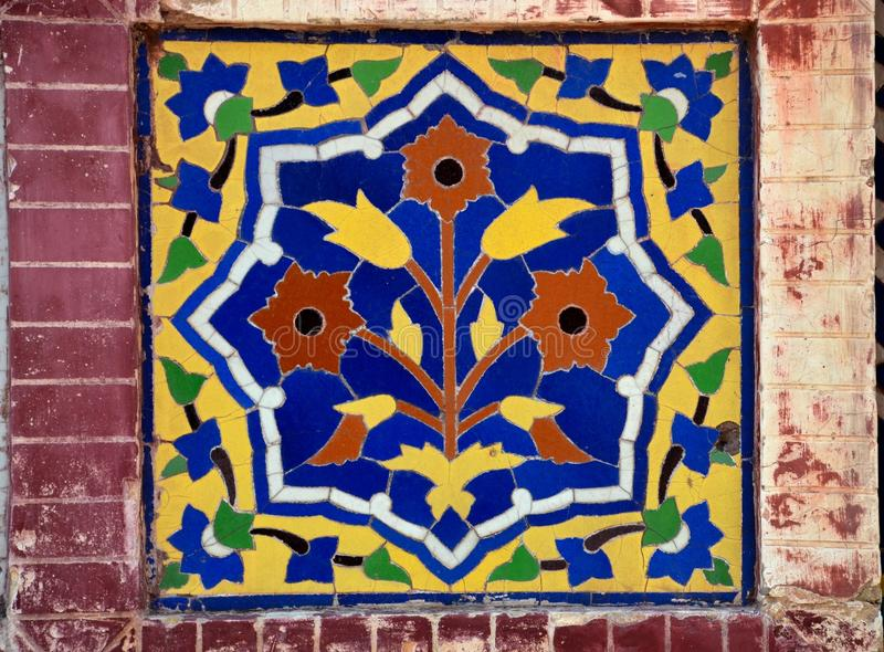 Floral Ceramic Mosaic From Mosque Stock Image - Image of wazir, blue ...