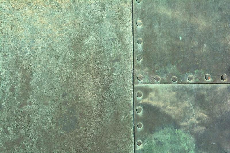 Weathered copper sheet stock photo. Image of riveted ...