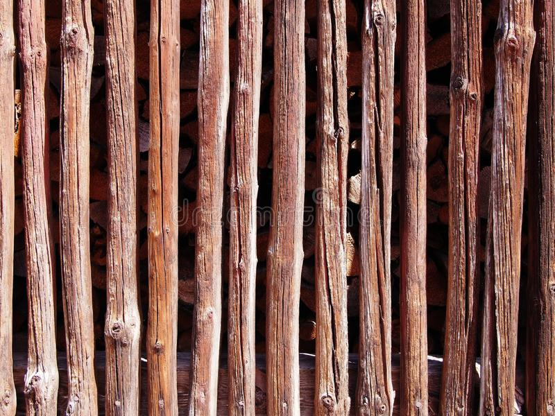Weathered dark brown wooden plank and slat wall background, Germany stock image