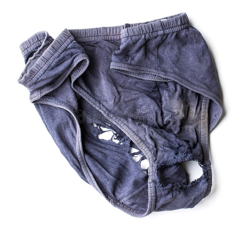 Weathered and decayed dirty underwear for men on white royalty free stock image