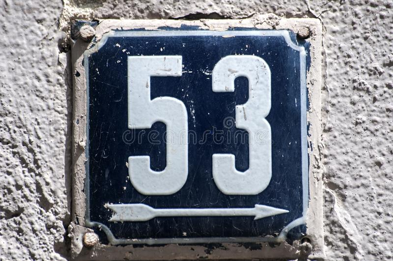 Weathered enameled plate number 53 royalty free stock photography