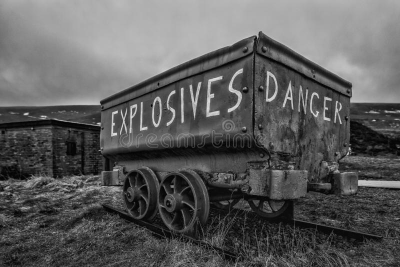 A weathered, mine cart, used to carry explosives to the Welsh coal mines stock photography
