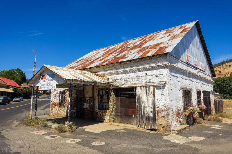 Weathered Old General Store in Coulterville, California stock photos