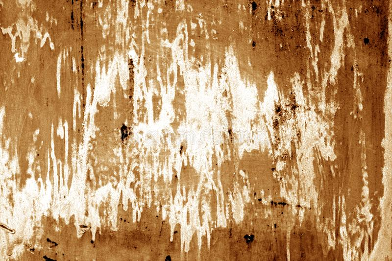 Weathered painted metal wall in brown color. Abstract background and texture stock images
