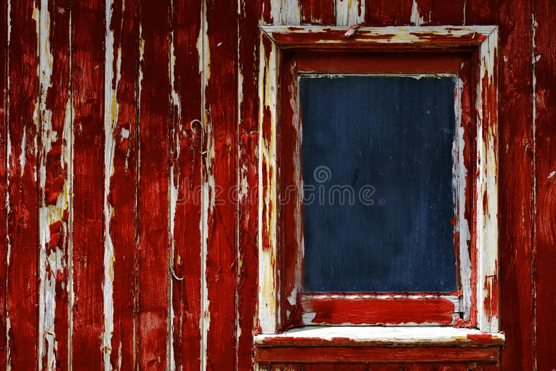 Weathered Red Paint Window on Old Wood stock images