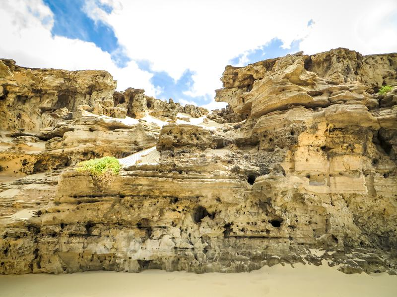 Weathered rocks at Praia Varandinha, Boa Vista stock images