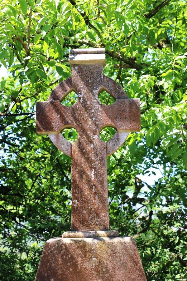 Weathered stone Celtic cross, Ireland. royalty free stock images