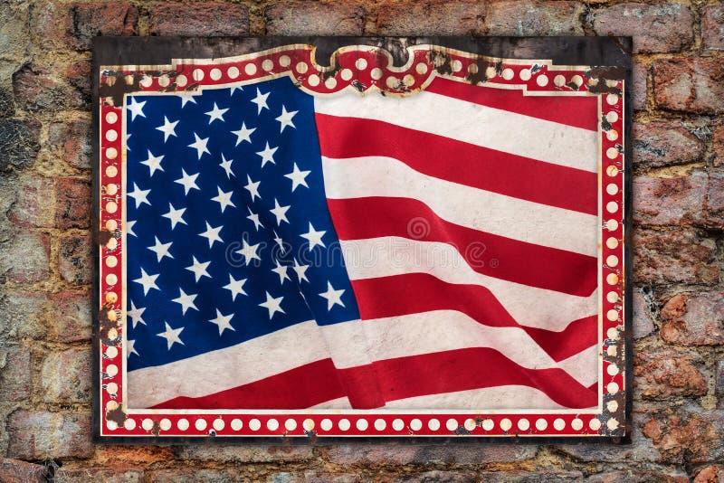 Weathered US flag inside a vintage metal frame