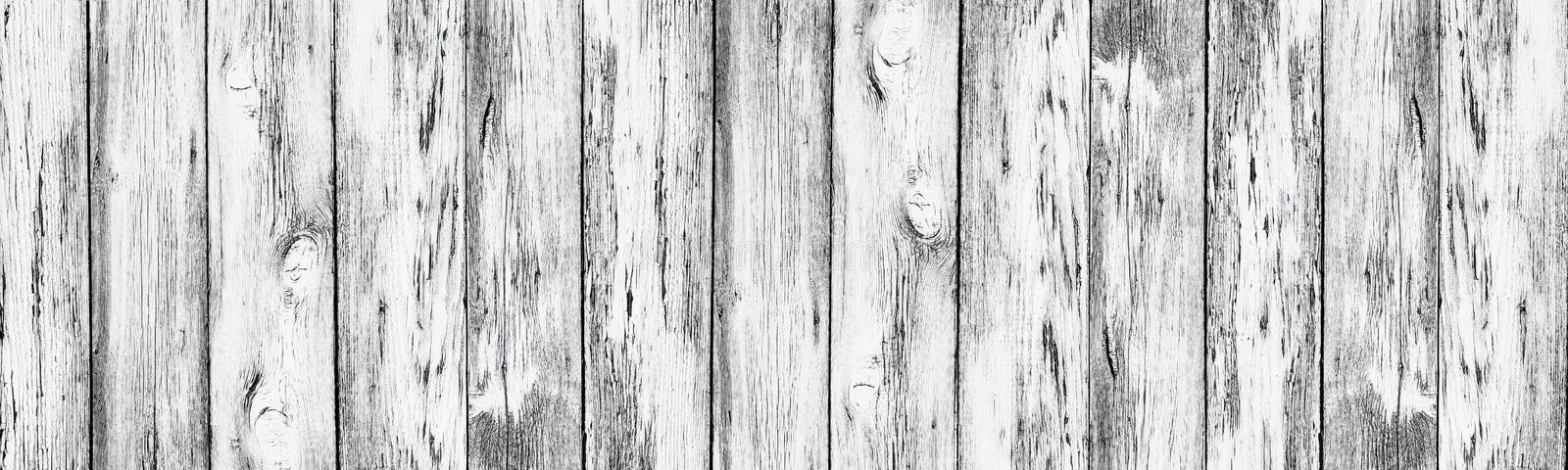 Weathered white painted old wood boards - wide rural background royalty free stock photography