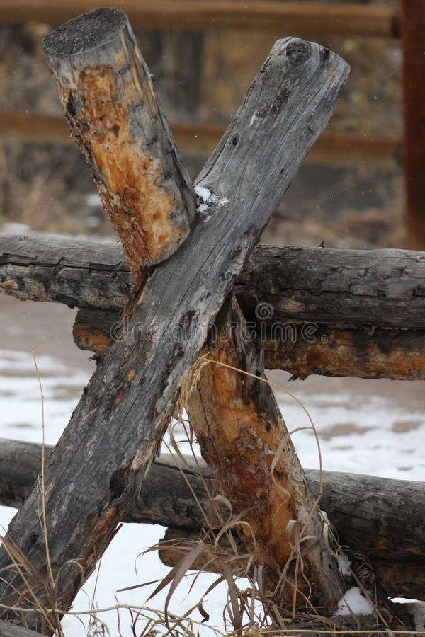 Rustic weathered wood rail fence royalty free stock image