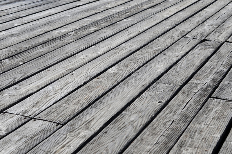 Weathered wooden decking stock photography