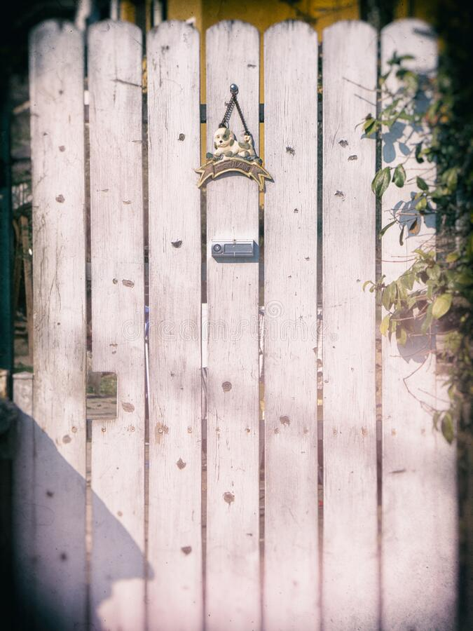Weathered wooden gate royalty free stock photography