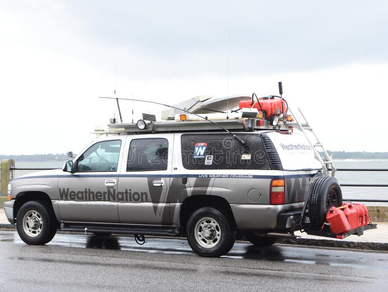 WeatherNation arrives in Charleston, SC for Hurricane Dorian.  royalty free stock images