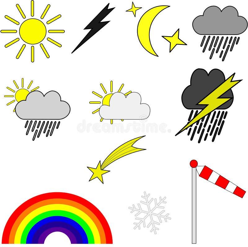 Weathersymbols ilustración del vector