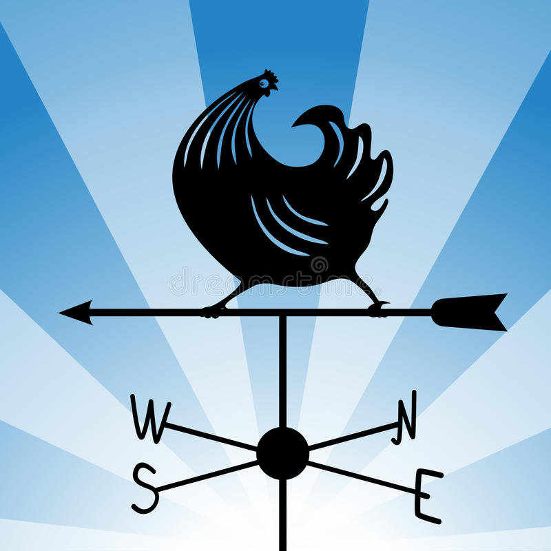 Weathervane - running rooster 4 vector illustration