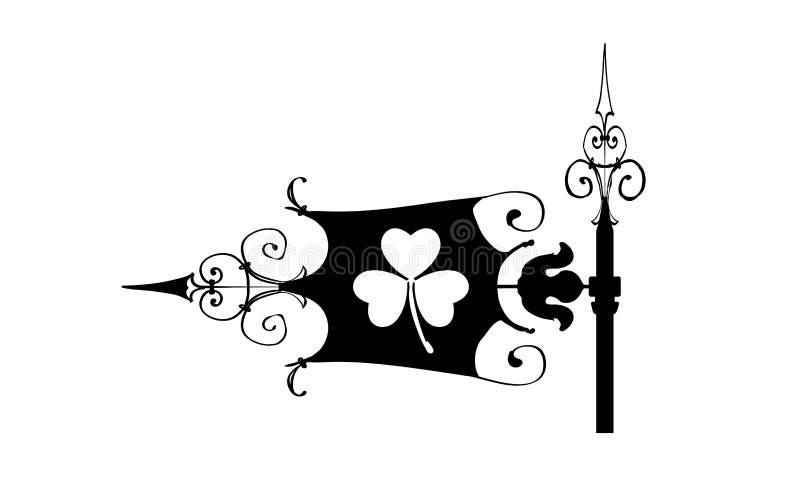 WeatherVane an St- Patricktag, Ikone Wind-Schaufelschattenbildschwarzes mit Klee Iren Bearbeitete Blätter des Shamrockfrühlinges  vektor abbildung