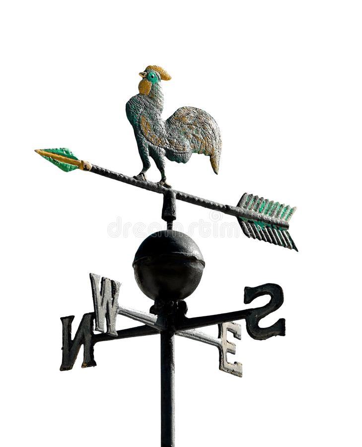 weathervane to indicate the wind direction with a rooster stock photo