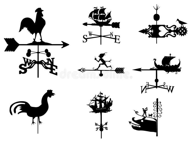 Weathervane (vector set). Set of ancient weather vanes. I chose the most interesting royalty free illustration