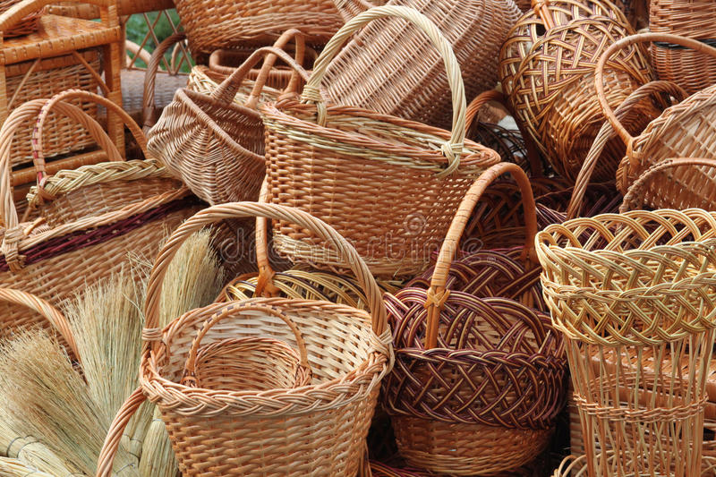 Download Weave baskets and brooms stock photo. Image of brown - 20260500