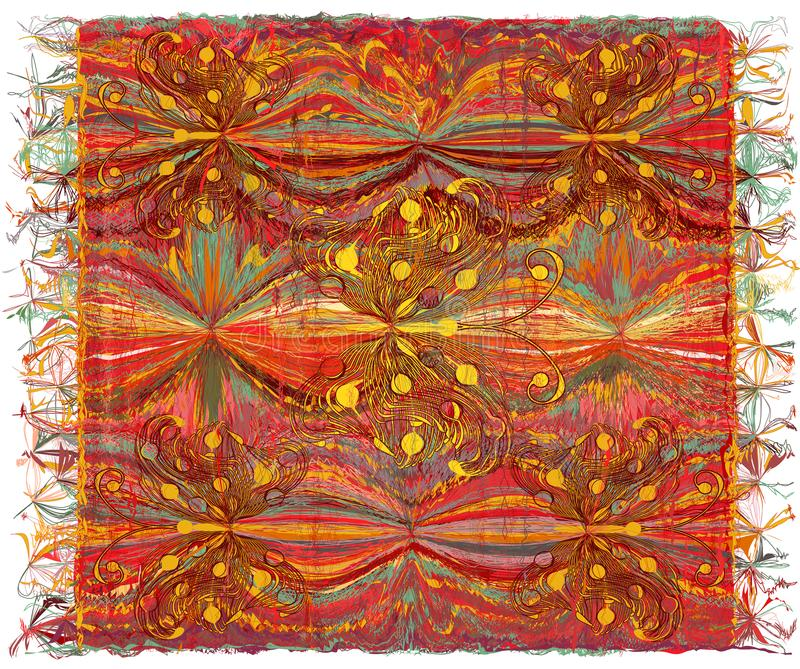 Weave colorful tapestry with wavy striped pattern,applique of butterflies. And fringe royalty free illustration