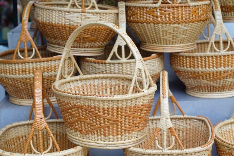 Weave de cesta, cesta de bambu fotografia de stock royalty free