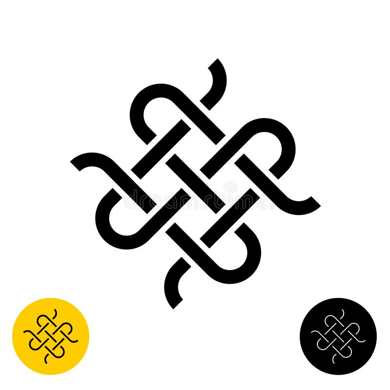Free Weave Knots Celtic Style Logo. Intersected Textile Woven Lines Symbol Stock Image - 160294091