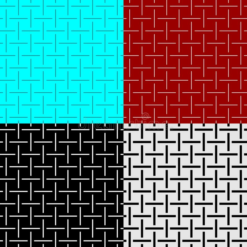 Weave lines seamless pattern set of different width. Cross wires textile like textures. royalty free illustration