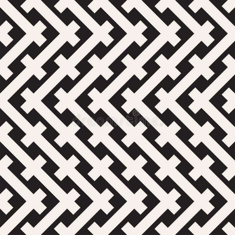 Free Weave Seamless Pattern. Stylish Repeating Texture. Black And White Geometric Vector Illustration. Royalty Free Stock Photo - 88892955