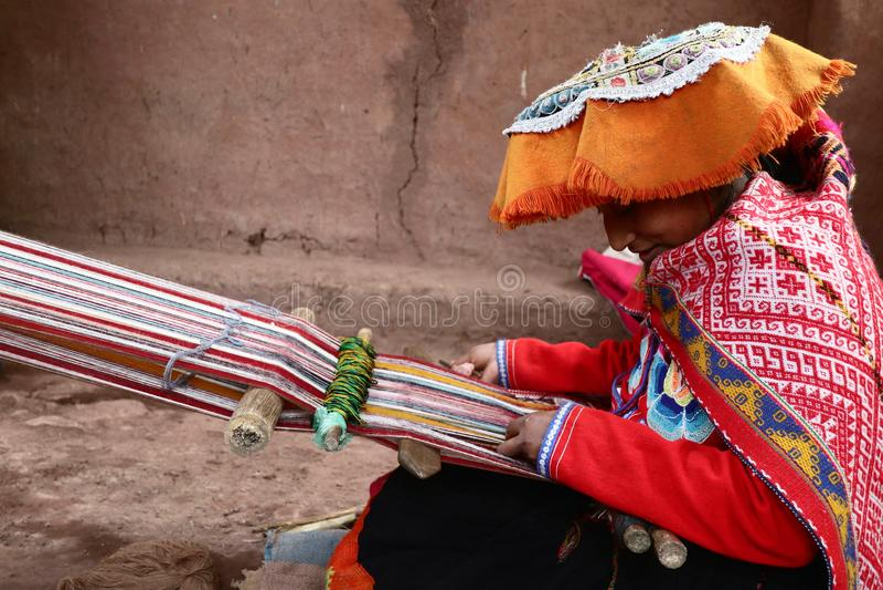 Weaver Working peruano fotografia de stock
