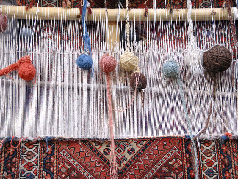 Weaving loom. For carpets in Iran royalty free stock photo
