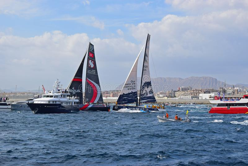 Close Shave With Spectator Boats Volvo Ocean Race Alicante 2017 stock photo