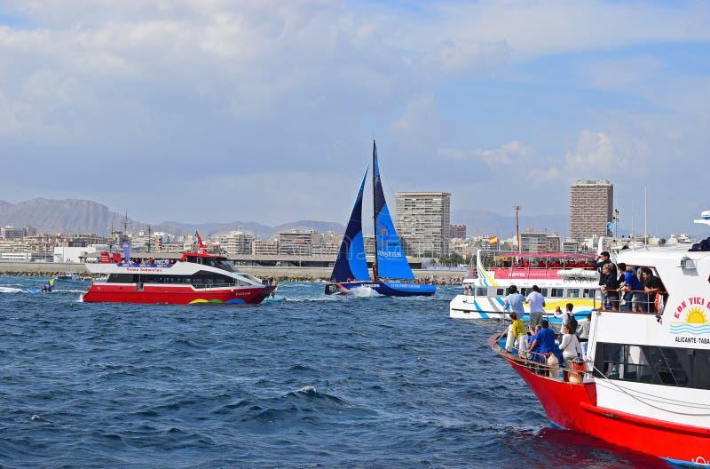 Vestas 11th Hour Dodging The Spectator Boats Volvo Ocean Race Alicante 2017 royalty free stock image
