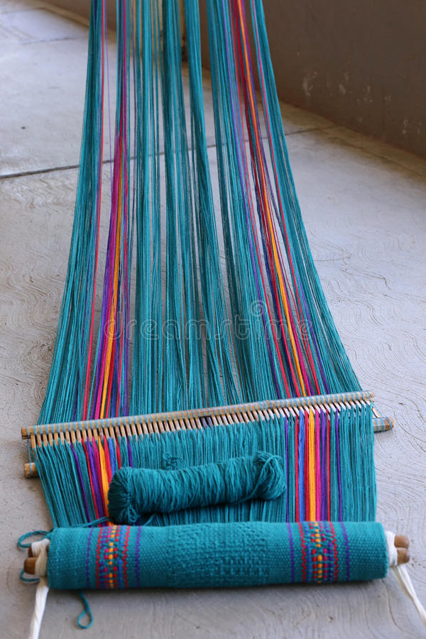 Weaving near Oaxaca. Weaving - Handmade textile - Work in Oaxaca Mexico stock image